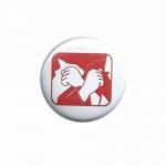 Rote Hilfe Button (rot auf weiß)